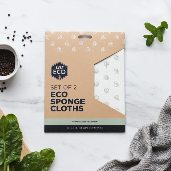 Ever Eco Sponge Cloths Scandi Leaves